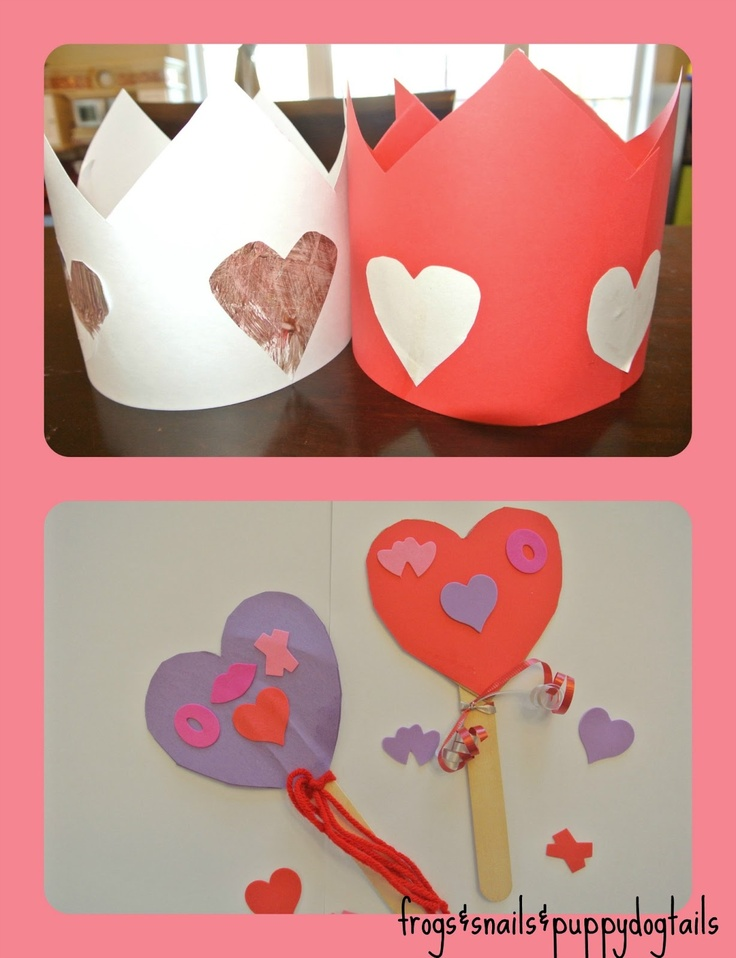 valentine's day crown and wands- easy to make and lots of fun for photos with the kids