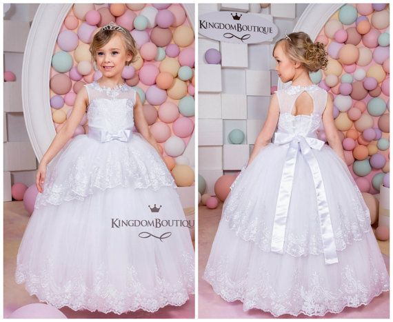 White Lace Flower Girl Dress - Birthday Holiday Wedding Party  Bridesmaid White Tulle Lace Flower Girl Dress 15-022