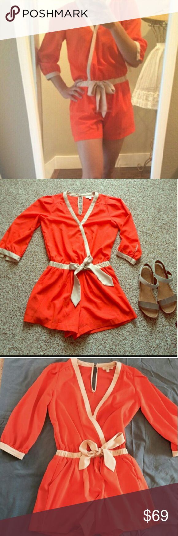 "Gianni Bini Orange Romper Cute and prissy romper is perfect for spring and summer flimgs. Slant pockets, elasticized waist. 3"" inseam for ample coverage. Gianni Bini Pants Jumpsuits & Rompers"
