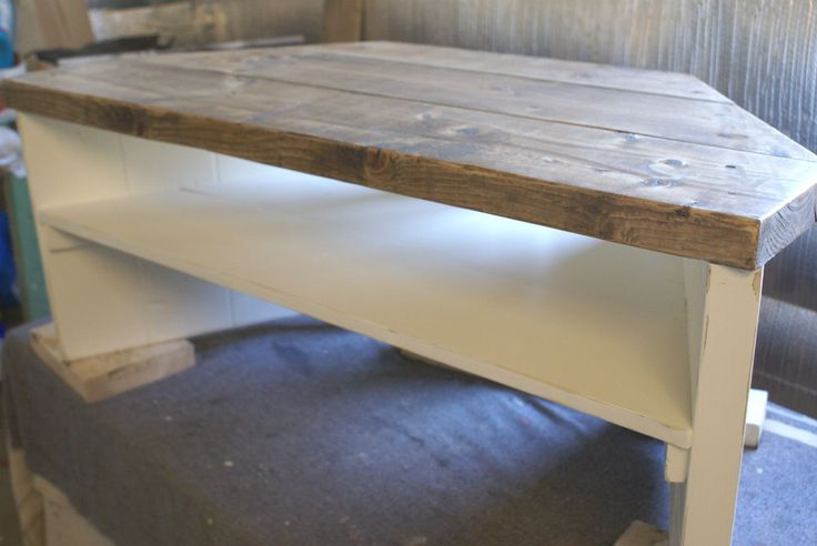 Corner Tv Stand shabby chic rustic hand painted solid wood pine plank