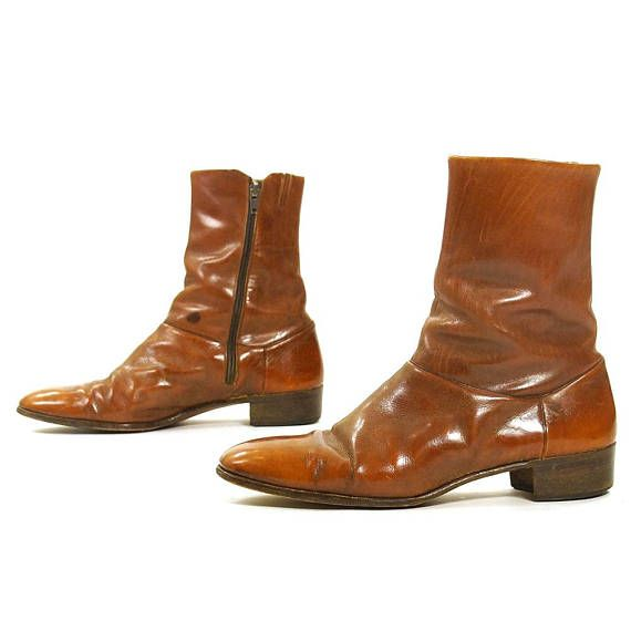 746a694be2a 70s Italian Leather Beatle Boots / Vintage Brown Ankle Boots Shortie ...