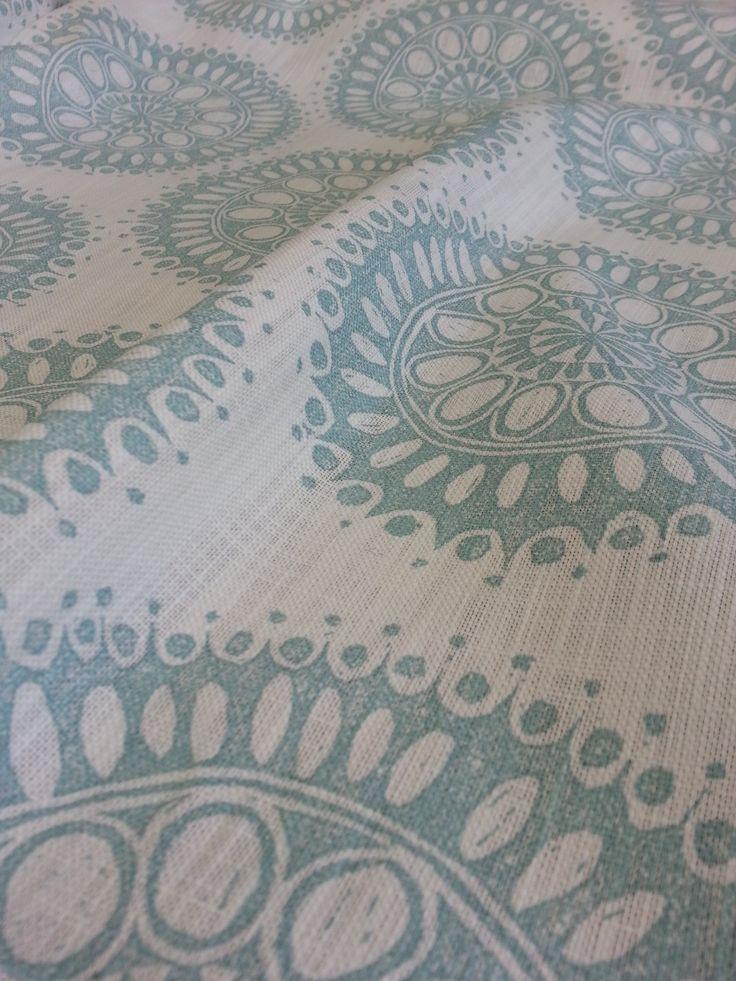 Maradadhi Textiles, Maradadhi Flower Design. This colourway is Duck Egg Blue onto white cotton.