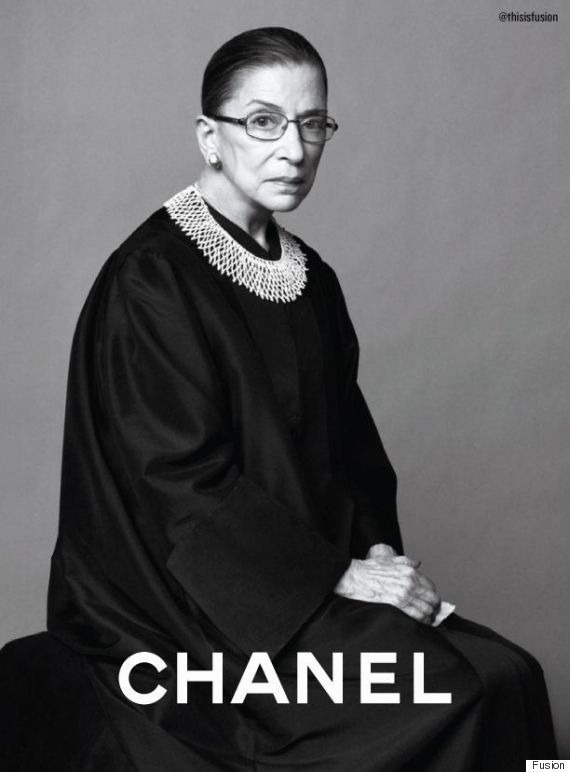"Rodríguez-Vila has taken some of our favorite ""super women"" (Ruth Bader Ginsburg, Laverne Cox and Gloria Steinem to name a few,) and superimposed them on to fashion ads for big names like Chanel, Versace and Louis Vuitton."
