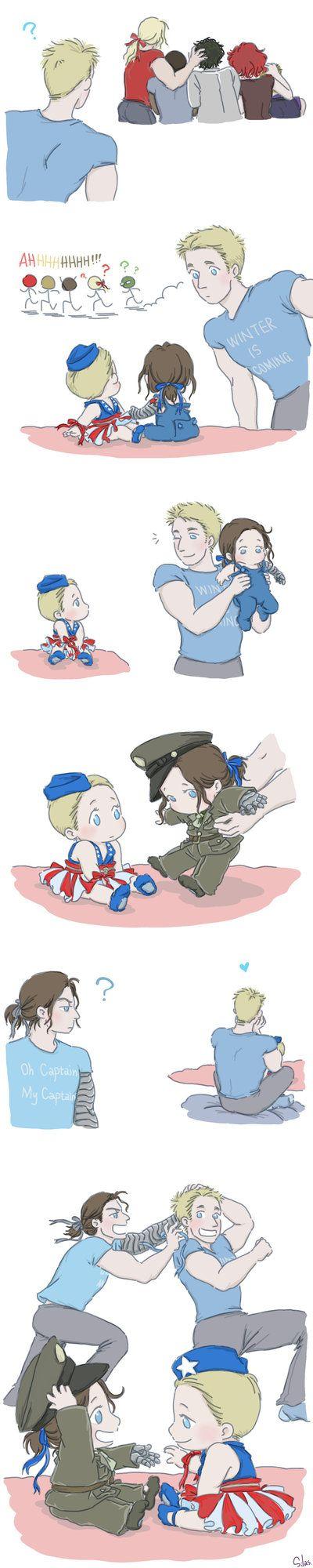 Steve and Bucky Babies: Ribbon 2 by SilasSamle *tiny bucky in uniform <3*