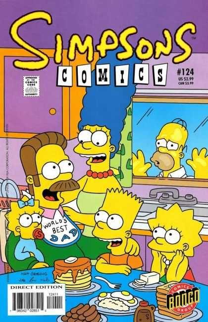 Sipsons comics 124 bongo comic book cover ned flanders bart homer lisa marge maggie jason ho - Marge simpson et bart ...
