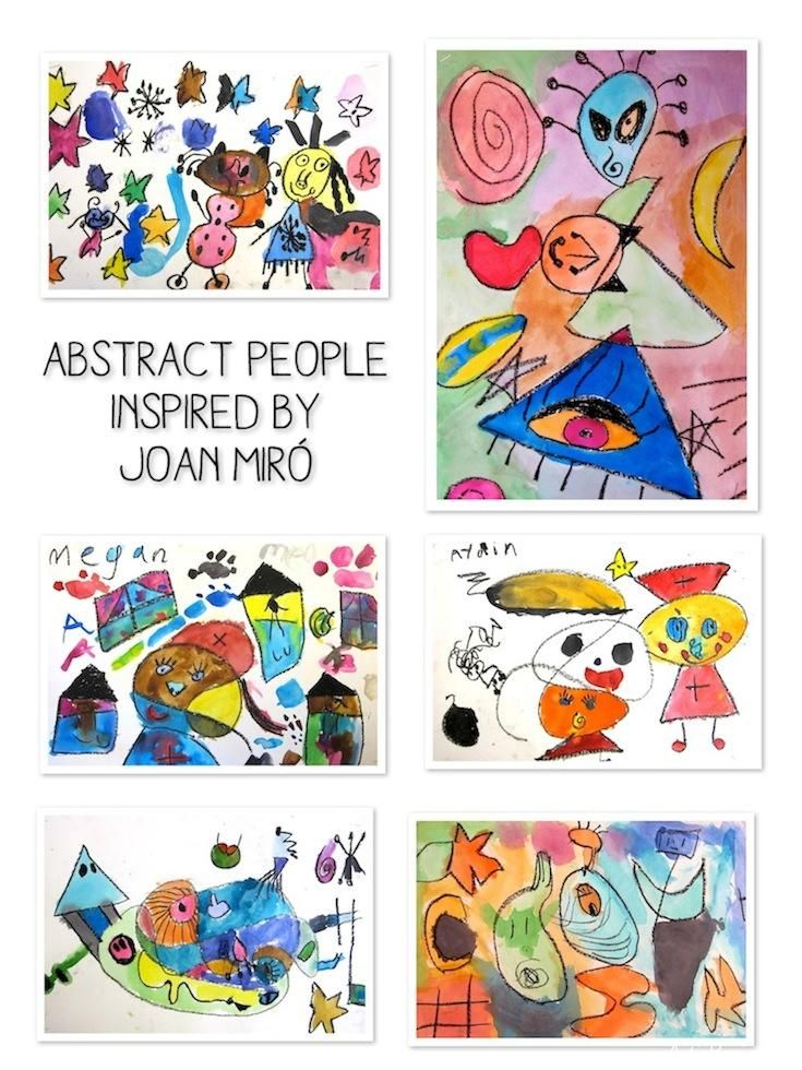 first grade abstract people inspired by Joan Miro. made with black oil pastels and watercolor