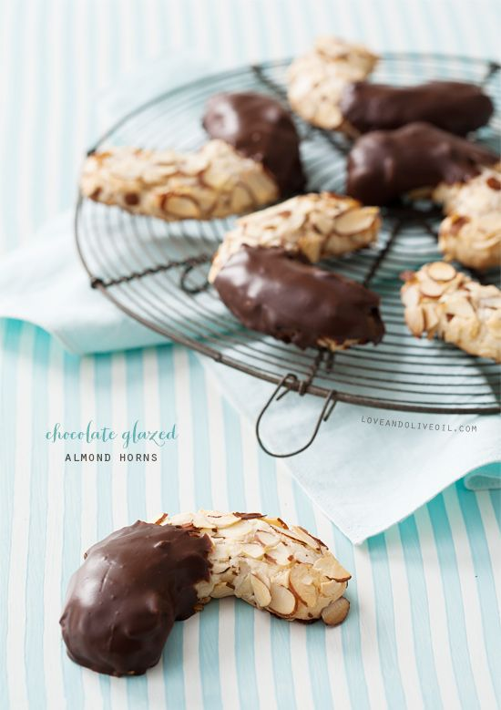 Chocolate Glazed Almond Horns from @Lindsay Landis (Love & Olive Oil)