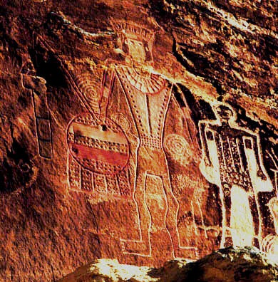 Ancient Rock Wall Paintings -- Discovered in Val Camonica, Italy -- Circa 10,000 BCE -- Believed to depict forgotten deities.: