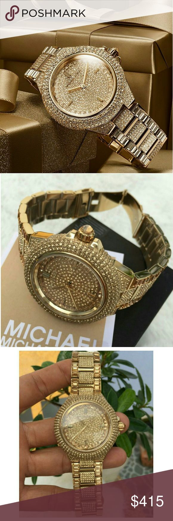 NWT Michael Kors gold Glitz pave cystal watch Brand New Michael Kors Gold Tone Pave Glitz Ladies Watch  PRICE  $415.00 . AUTHENTIC WATCH  . AUTHENTIC BOX  . AUTHENTIC MANUAL    SHIPPING  PLEASE ALLOW FEW BUSINESS DAYS FOR ME TO SHIPPED IT OFF.I HAVE TO GET IT FROM MY STORE.   THANK YOU FOR YOUR UNDERSTANDING. Michael Kors  Accessories Watches