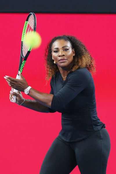 Serena Williams Photos Photos - Serena Williams of the USA hits the ball during a Wilson Racquet promotiton during a practice session ahead of the 2017 Australian Open at Melbourne Park on January 12, 2017 in Melbourne, Australia. - 2017 Australian Open - Previews