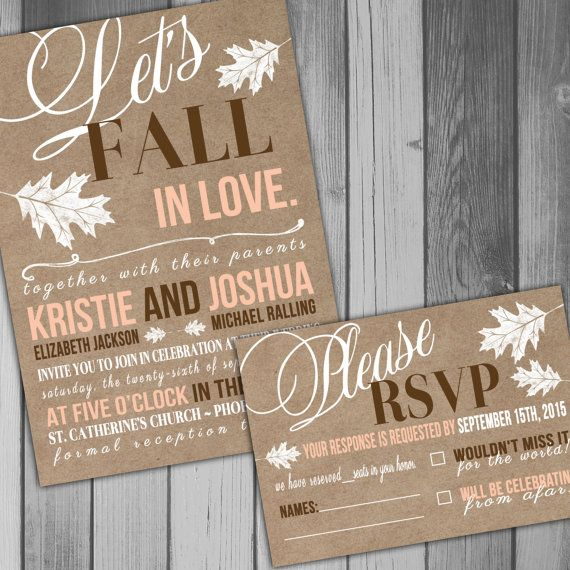 This listing is for the above Fall In Love wedding invitation and RSVP card set.  The invitation will be sized to 5x7. Please choose the RSVP card