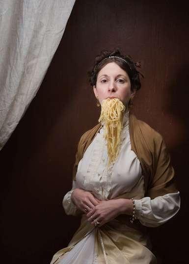 Alison Brady's Gluttonous Spaghetti Slurping Baroque Portraits