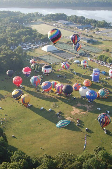 """Hot Air Balloon Jubilee in Decatur, Alabama. Decatur, affectionately known as """"The River City"""", is located in Northern Alabama on the banks of Wheeler Lake, along the Tennessee River."""
