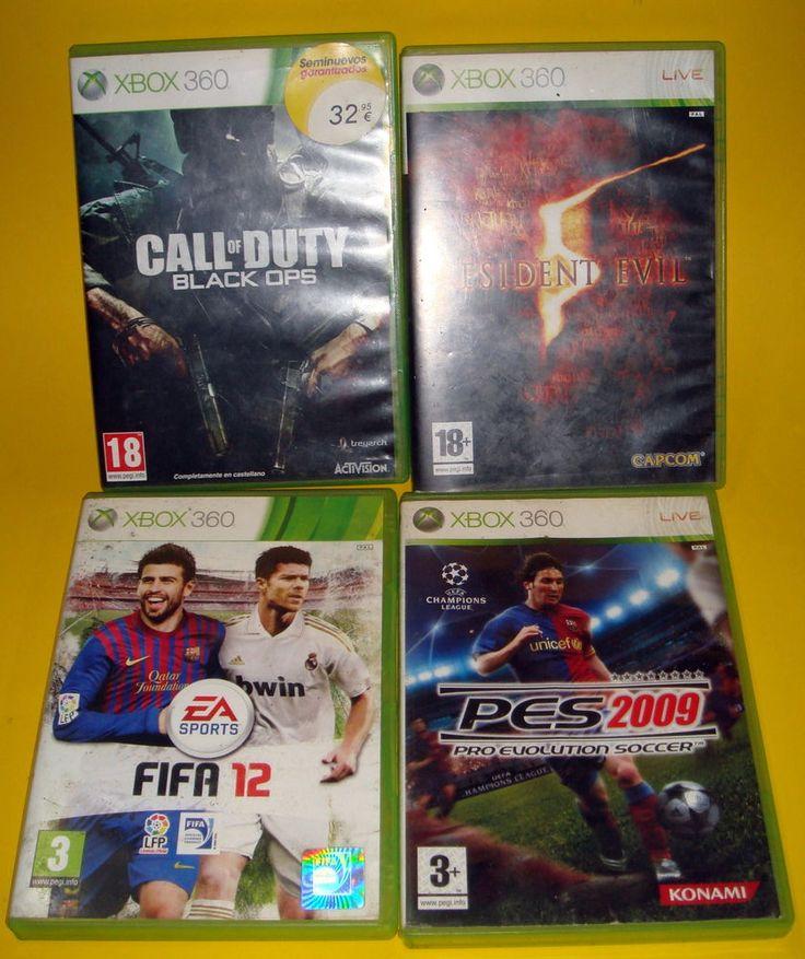 VIDEOJUEGOS XBOX 360-4 juegos FIFA 12-RESIDENT 5-PRO 2009-CALL OF DUTY BLACK OPS