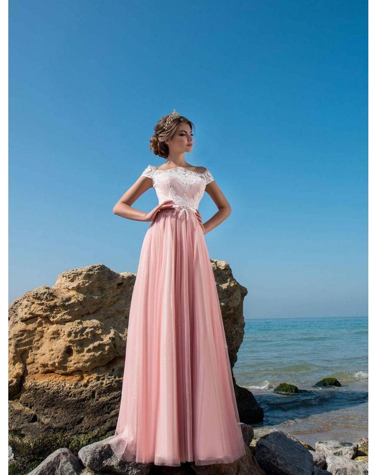 Dlhé spoločenské šaty CARRIE s čipkovaným vrškom a jemnou tylovou sukňou