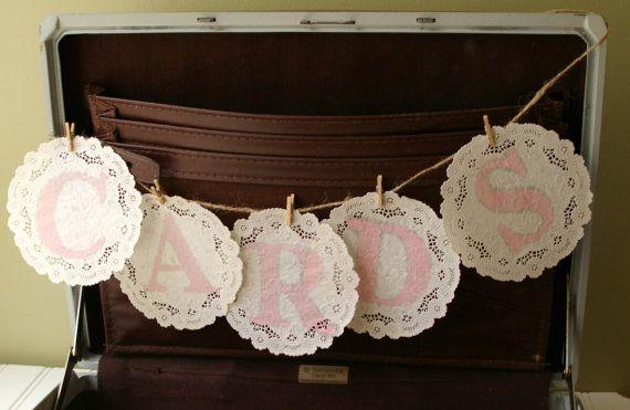 for you, Kat-  Vintage Paper Doily Cards Banner- Handmade Stamped Wedding Banner in Custom Colors- Rustic Chic Vintage Wedding Decor