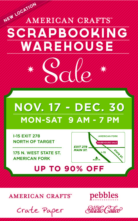 Annual Utah Scrapbooking Warehouse Sale starts Thursday at a new location!