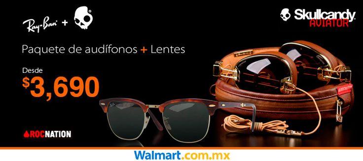 Elige tu combo favorito! Audífonos Skullcandy más lentes Ray Ban. Walmart.com.mx, Hacemos Clic!