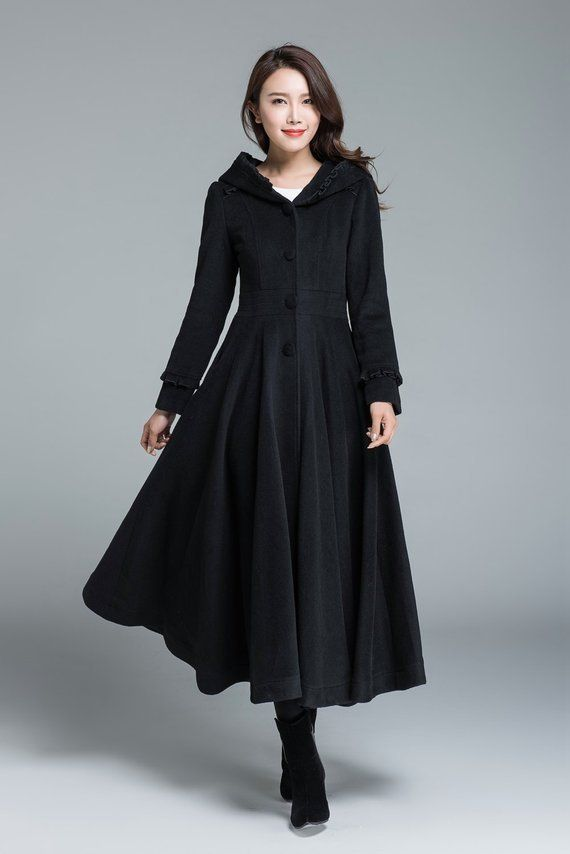 b895775822 long wool coat, Womens coats, Navy Blue coat, plus size Coat, Wool ...