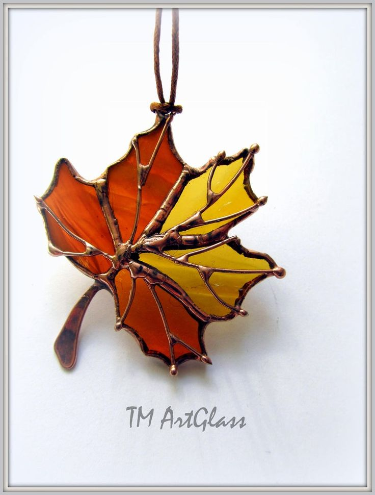 Stained glass pendant Drop Maple Leaf. Canadian gift. Tiffany style. Handmade Jewellery Women's Decoration. Fallen Leaf