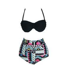 Vintage cintura alta Bikini Swimsuit Swimwear mulheres Halter biquínis mulheres empurrar para cima do biquíni Plus Size Swimwear maiô Biquini(China (Mainland))