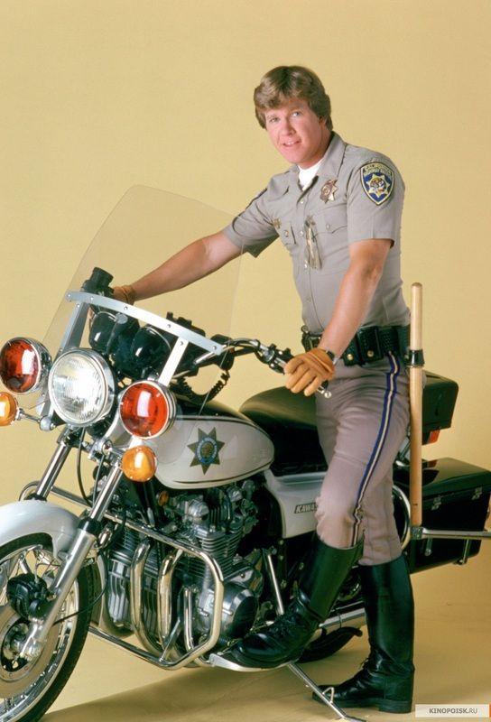 """""""CHiPs"""" - Larry Wilcox as Officer Jonathan """"Jon"""" Baker."""