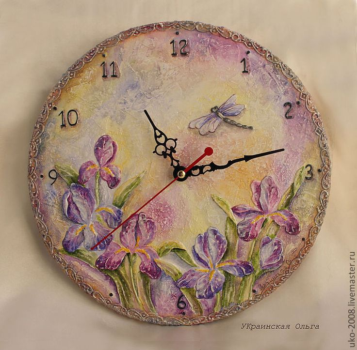 Купить Объемные часы с ирисами - фиолетовый, сиреневый, ирисы, пастельные тона, часы, часы настенные