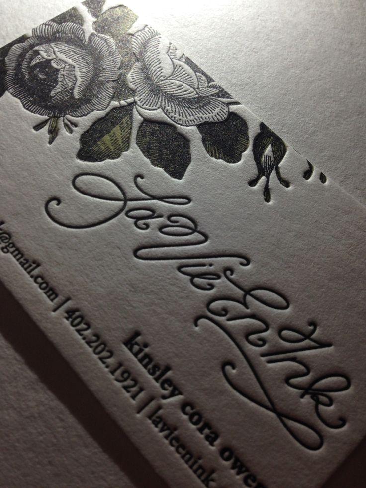 """Letterpress business cards: 2 colors for """"La Vie En Ink"""""""