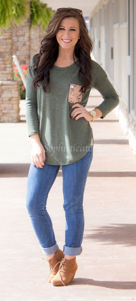 Olive Sequin Pocket Tunic / Southern Sophisticate Boutique: