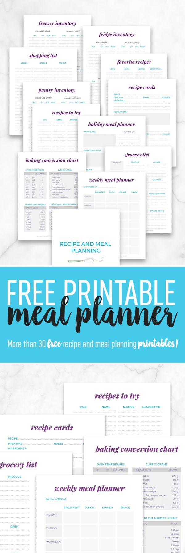 Free Printable Meal Planner - You'll love this free meal planner printable to help organize recipes, shopping and food inventory!