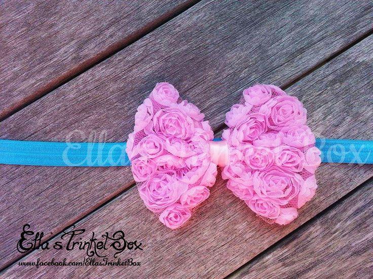 Pink & Blue Rosette Headband ♡  Find it at https://www.facebook.com/EllasTrinketBox