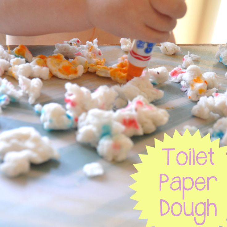 Toilet paper dough made from toilet paper and water - kids can use markers to color on it for added fun!