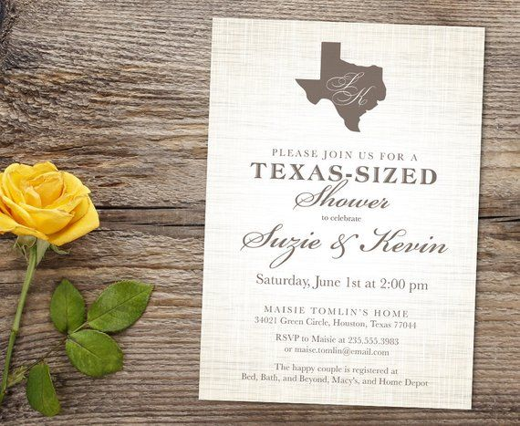 Texas State Outline Western Country Wedding Printable Couples Bridal Shower Invitation Custom Burlap