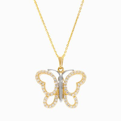 Designed in the shape of a butterfly, handmade pendant in 14k yellow and white gold with crystals. Add some sparkle to every day!