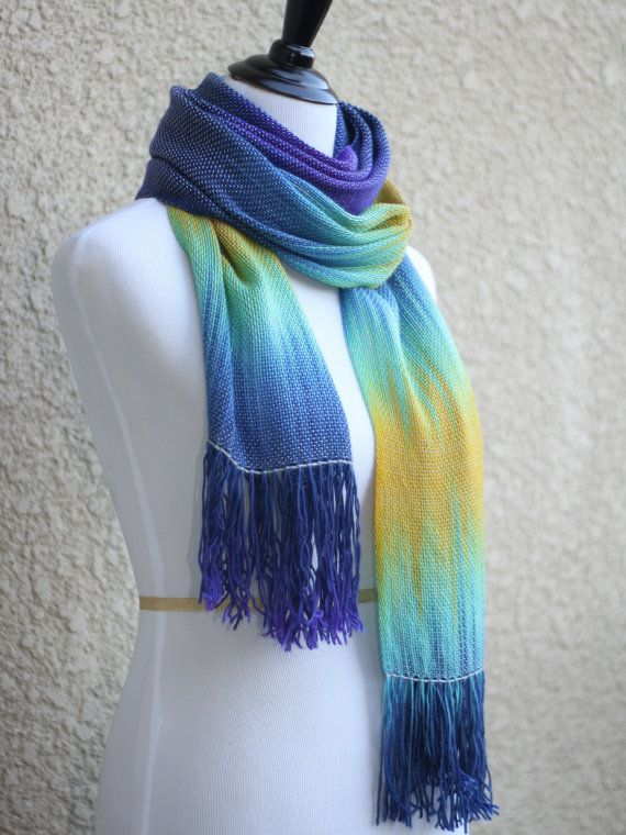 Hand woven long scarf with gradually changing colors from dark blue to mint and yellow colors. You can wear it as a scarf, but it is long and wide enough to wear it also a... #kgthreads #rusteam #homespunsociety