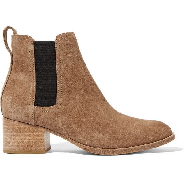 Rag & bone Walker suede Chelsea boots (6.665 ARS) ❤ liked on Polyvore featuring shoes, boots, ankle booties, pull on boots, round toe boots, camel booties, chelsea bootie and slip on boots
