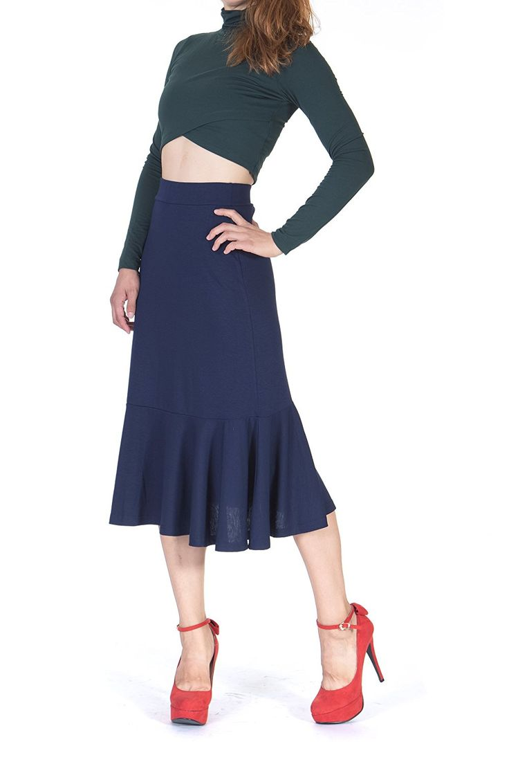 Tea Length 1930s Style Skirts for Sale Danis Choice Flowy Elastic Waist Frilled Hem Fish Tail Mermaid Flared Midi Skirt $16.95 AT vintagedancer.com