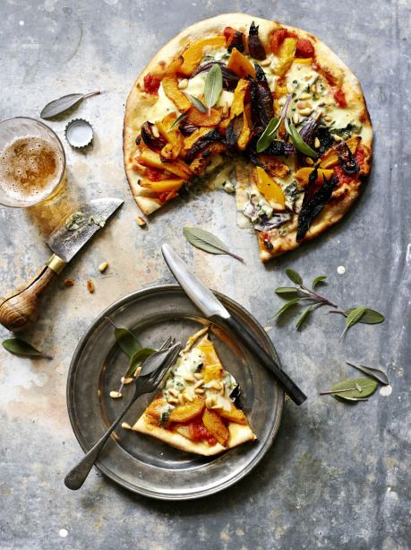 Feta and roasted pumpkin pizza