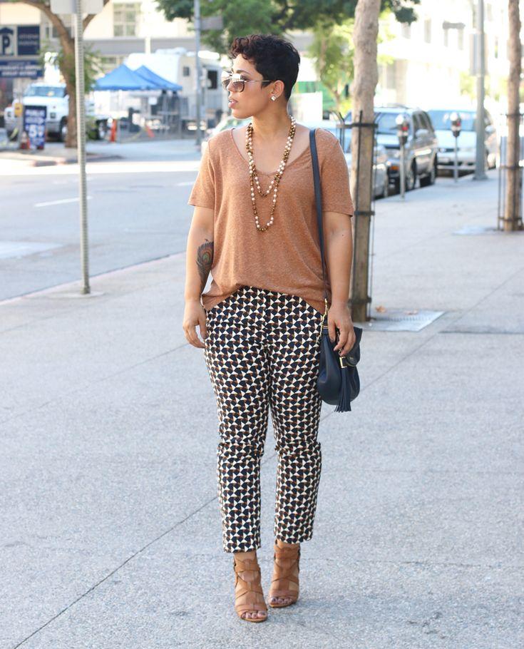 Dressed Up Printed Slacks + Linen T-Shirt - Mimi G Style