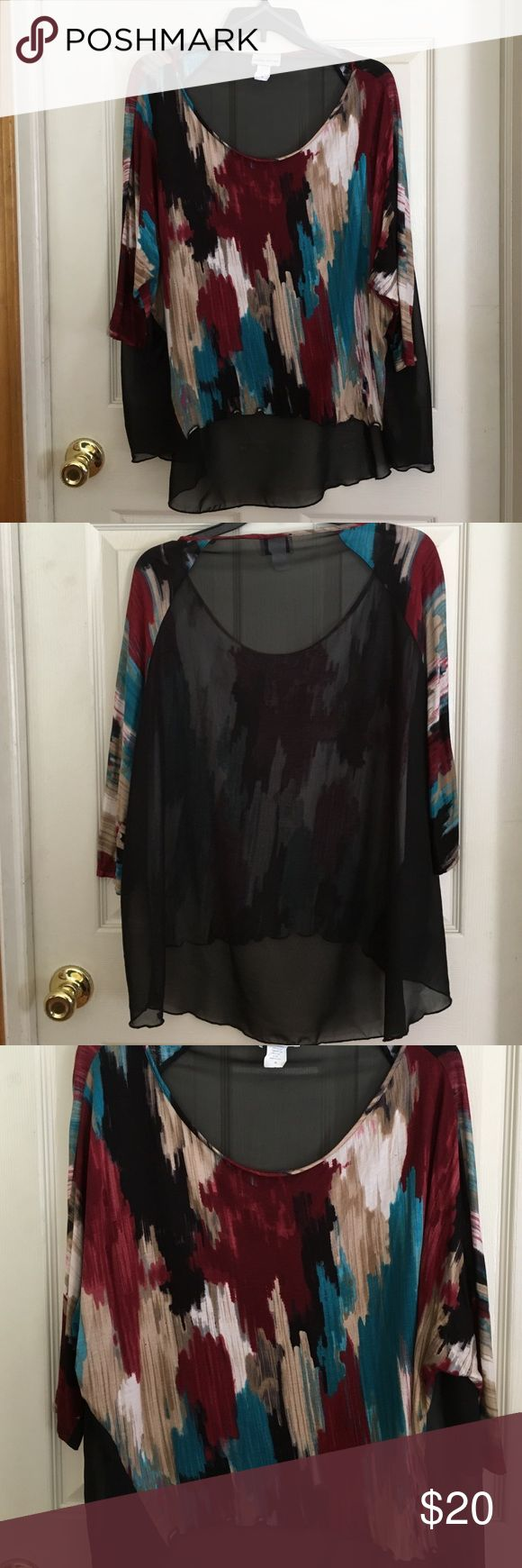 Ladies Plus Size Clothing Multi Colored Hi/Low Style Blouse with Sheer Back size 2X in good condition !!! Caren Sport Tops Blouses