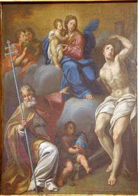 Anonyme ambito romano,  Madonna con Bambino tra i SS. Fabiano e Sebastiano (XVII-XVIII sec.), Rieti, museo diocesano.