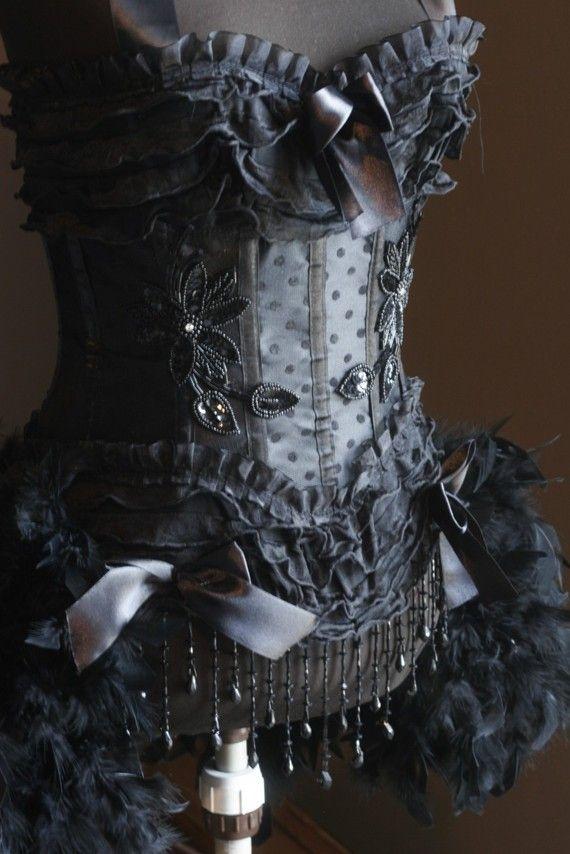BLACK SWAN Sexy Steampunk Burlesque Corset Costumes von olgaitaly