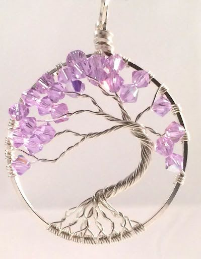 This Sparkling Tree of Life Bonsai style pendant is made with Light Amethyst Swarovski Crystals on Sustainable Sterling Silver Wire.