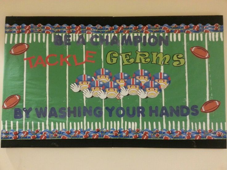 Germs bulletin board using football