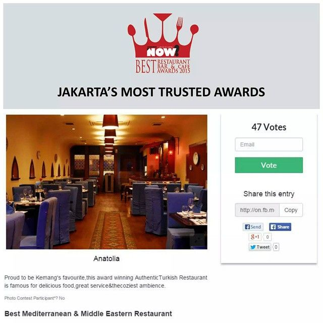 Give your vote for Anatolia for The Best Mediterranean & Middle Eastern Restaurant on #BRBCA2015! #Jakarta #NOWJakarta #LifeinTheCapital #BRBCA #Best #Mediterranean #Middle #Eastern #MiddleEastern #Restaurant #Category #Anatolia #AnatoliaJakarta #AnatoliaJKT #Turkish #Nomi #Inc #NomiInc #Brunch #Lunch #Diner #Dine #Dining #Hangout