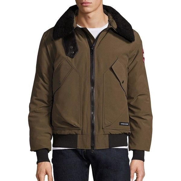Canada Goose Bromely Bomber Jacket ($850) ❤ liked on Polyvore featuring men's fashion, men's clothing, men's outerwear, men's jackets, apparel & accessories, military green, mens olive green bomber jacket, mens flight jacket, mens bomber jacket and mens jackets