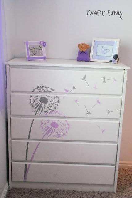 Craft Envy: Stenciled Dandelion Dresser @