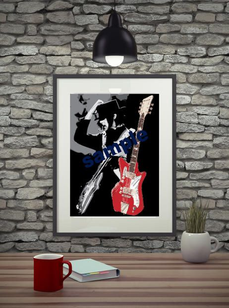 "This is a high quality poster print of Jack White with his Airline guitar from a sketch originally done with markers. Printed on heavy archival paper with eco friendly inks. The poster is 18""x24"" including the white one inch border.  This is my abstract take on the this awesome artist. Great gift for music fans, gifts for musicians, mancaves. Ships rolled in a tube with tracking.  Any questions just ask."