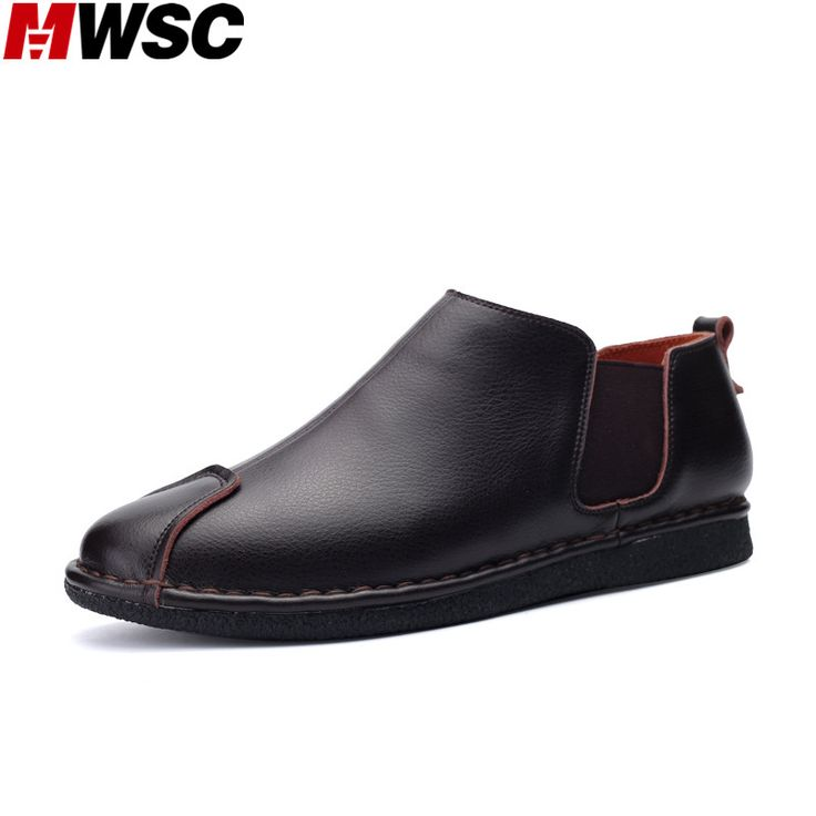 MWSC Man Leather Casual Shoes Slip-On Men's Fashion Retro Mocassin Gentle British Style Flat with Shoes #Affiliate