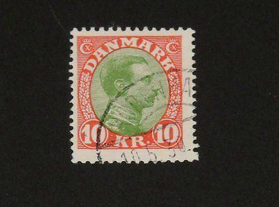 Stamp Pickers Denmark 1928 Christian X 10k Kroner Scott #131 VFU $55